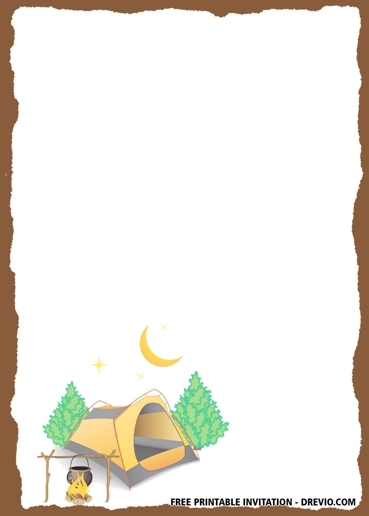 free camping watercolor birthday