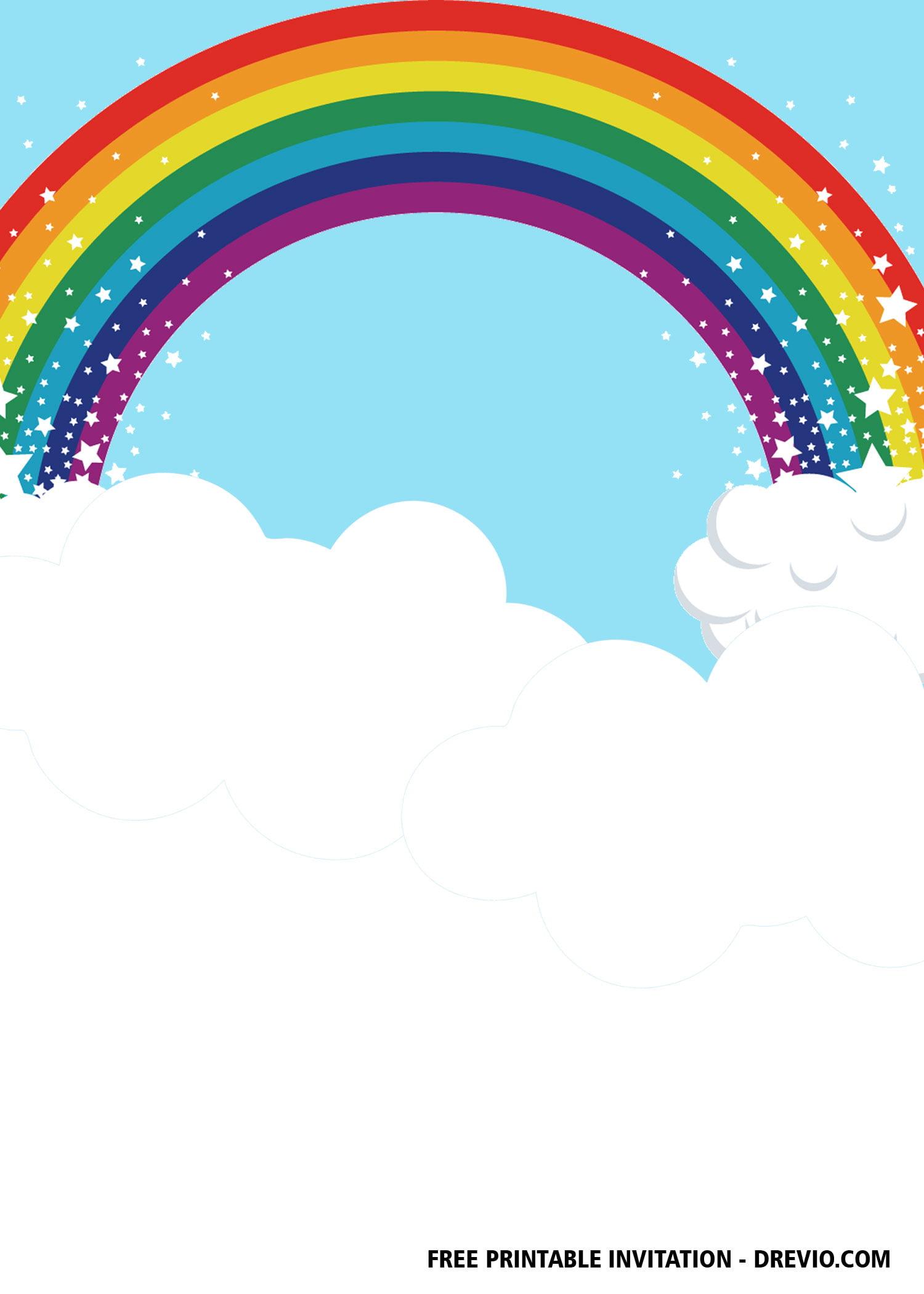 Free Rainbow Party Invitation Templates Free Printable