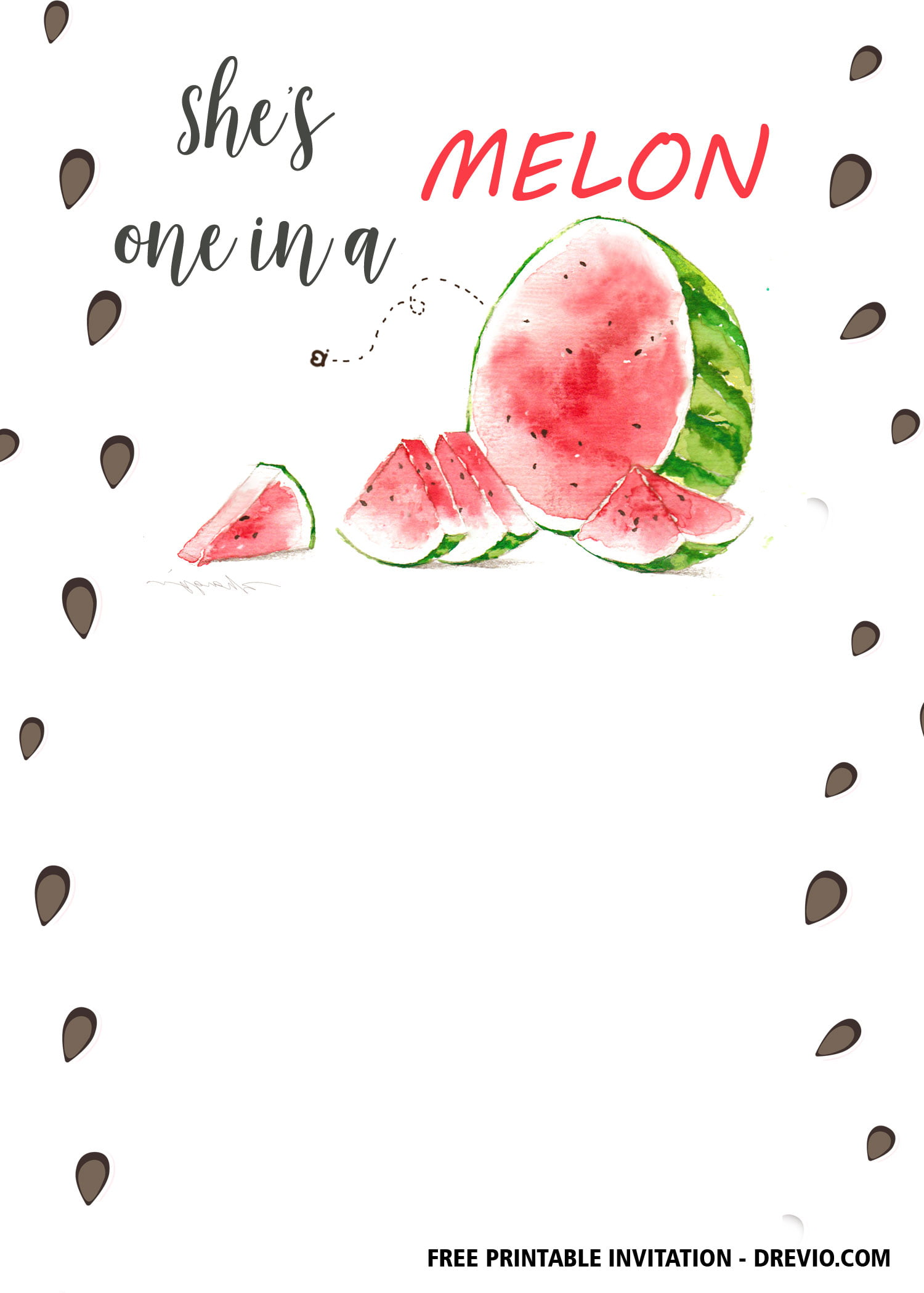 Free 1st Watermelon Birthday Invitation Templates