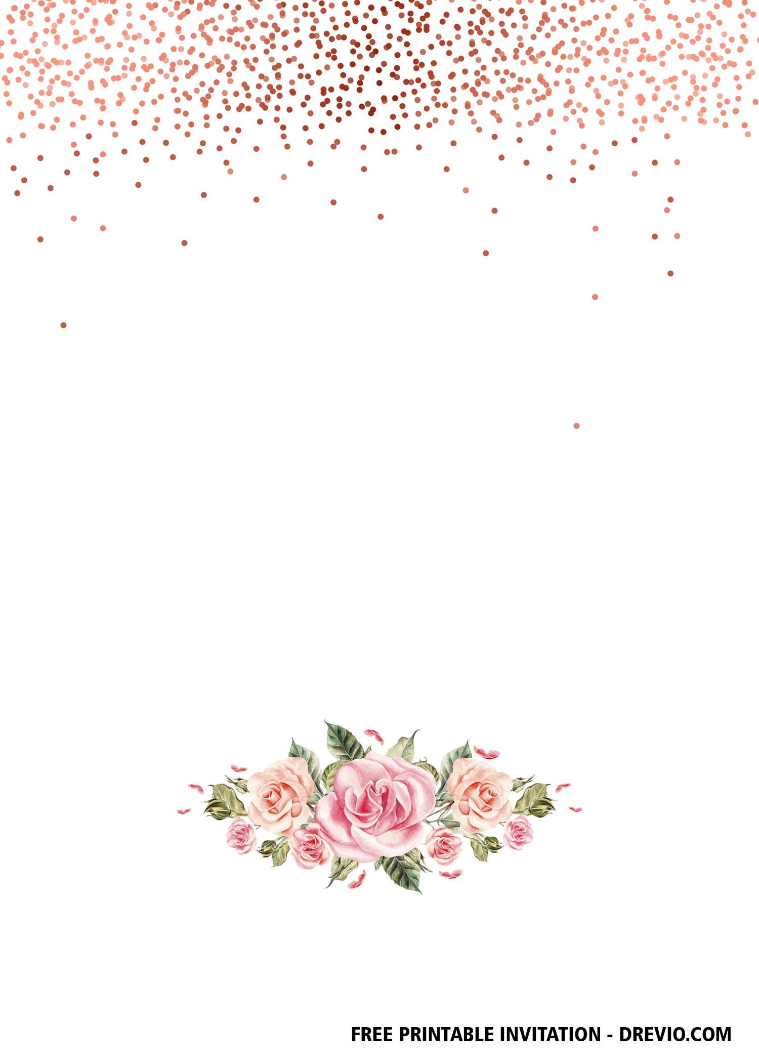 free rose gold confetti invitation