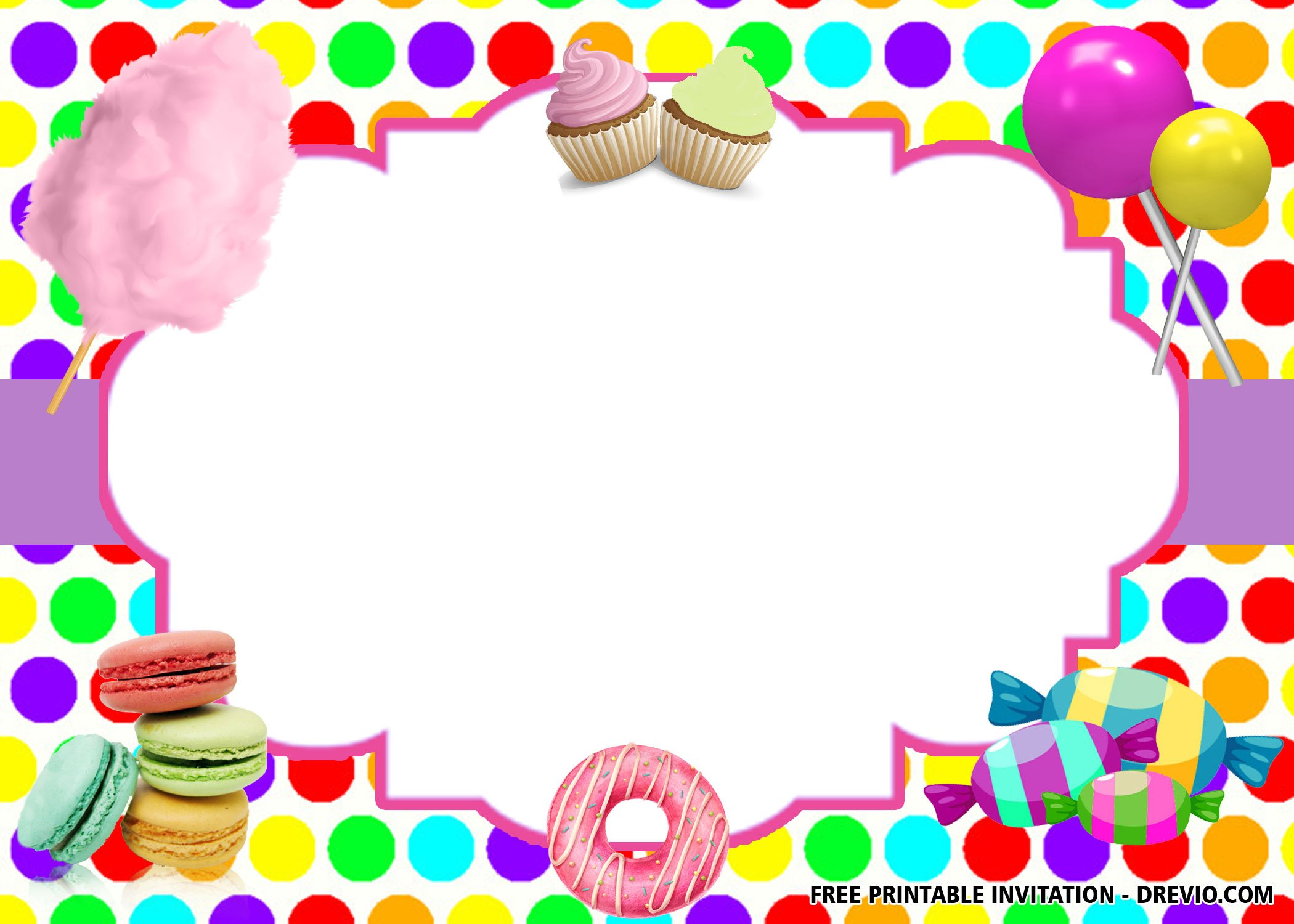 free sweet shop birthday invitation