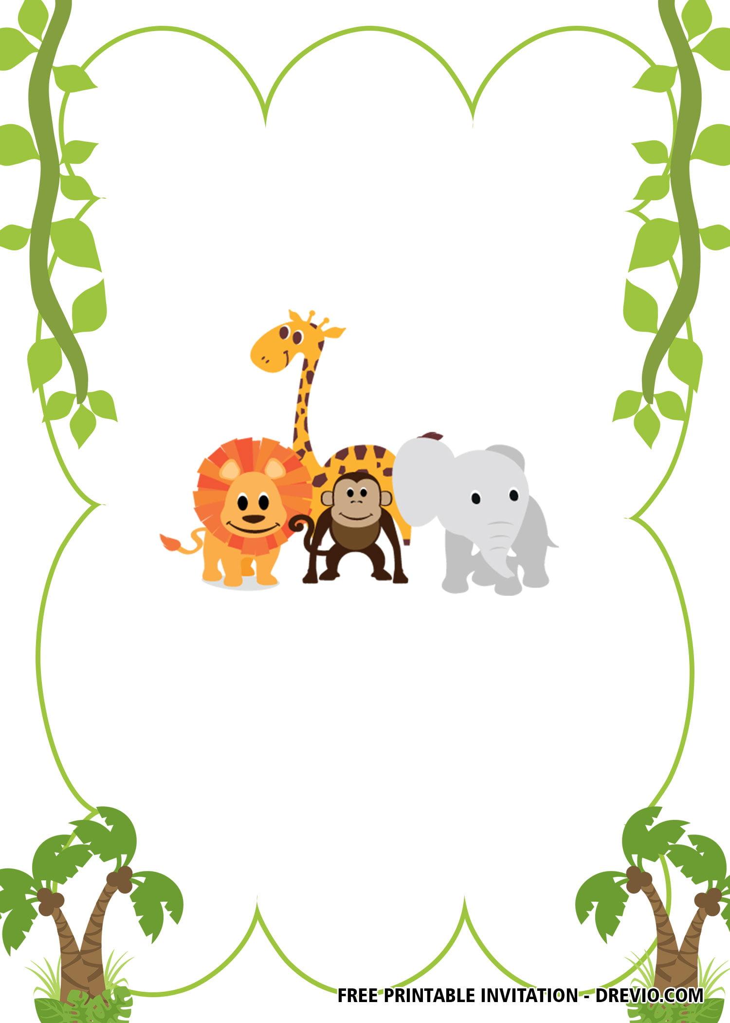 free printable wild safari invitation