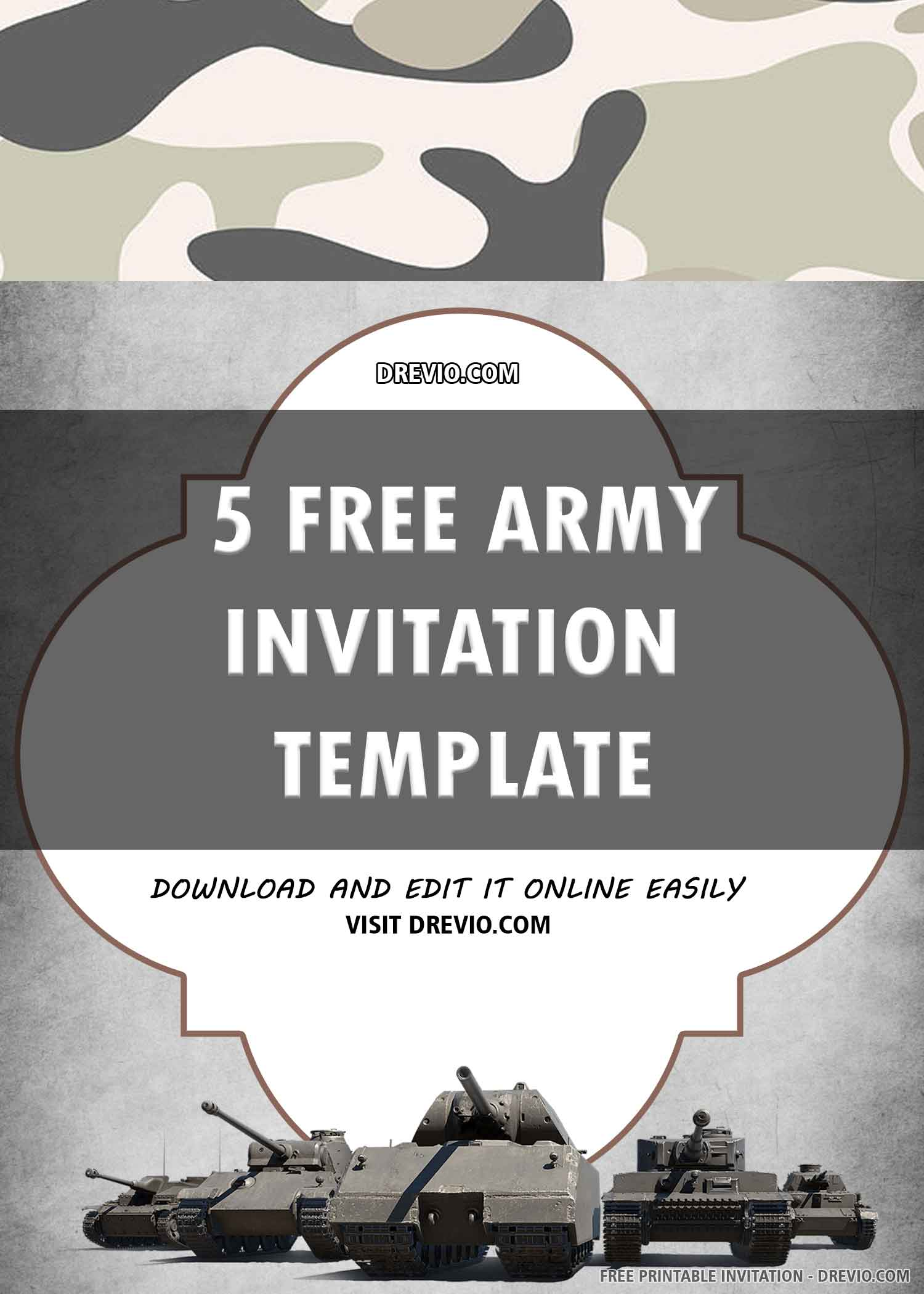 Free Printable Army Birthday Invitation Template