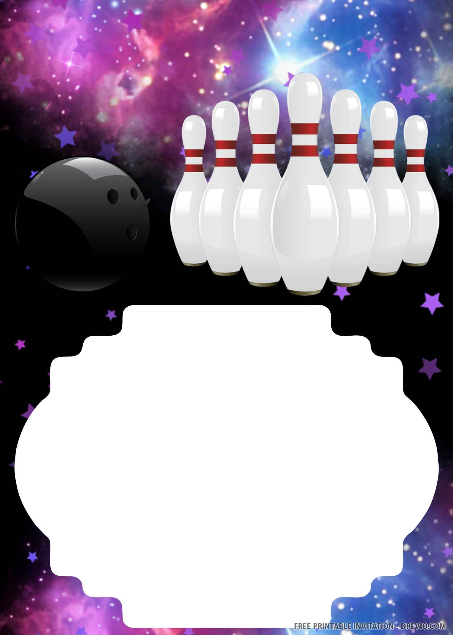 Free Printable Amazing Bowling Birthday Invitation