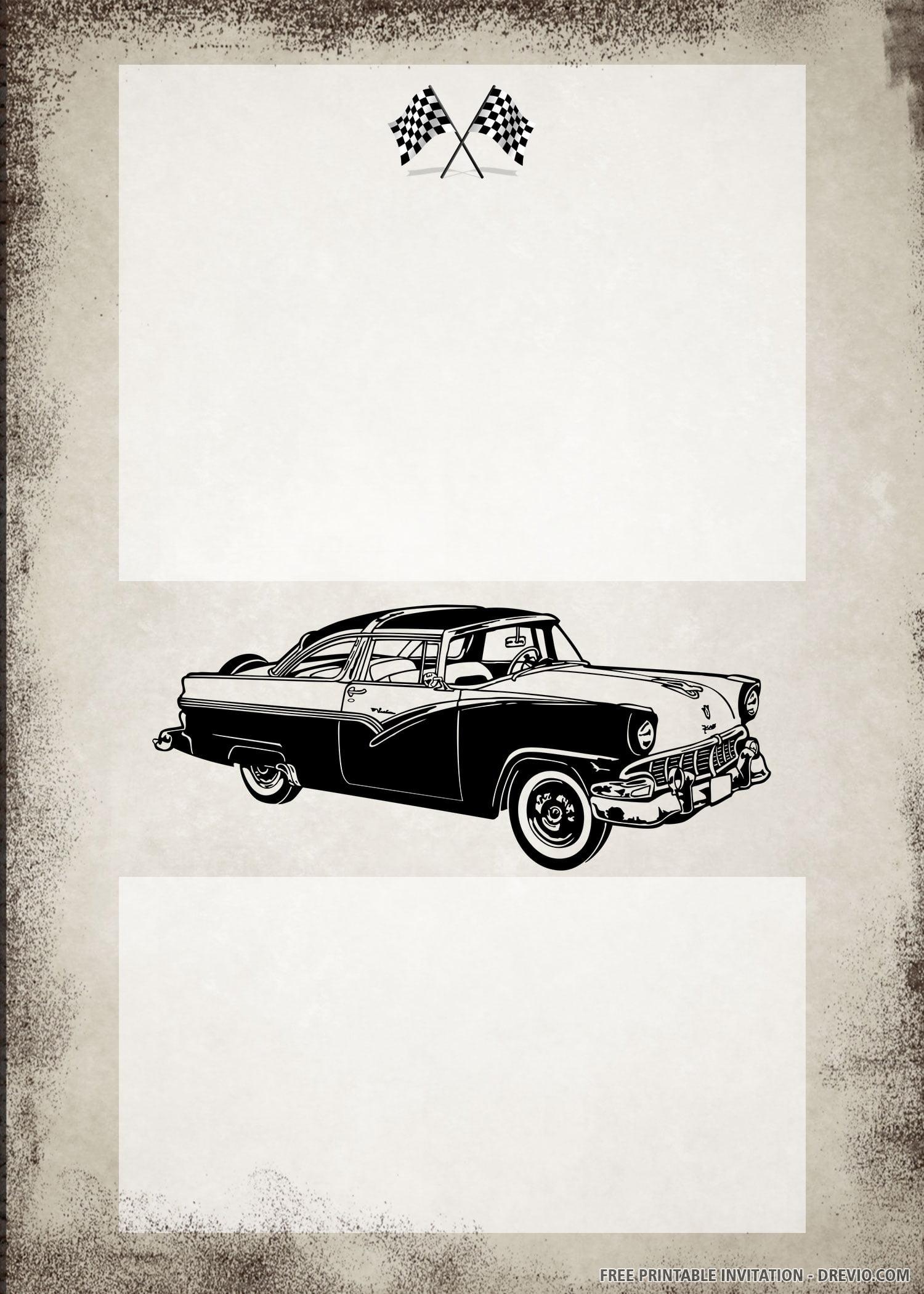 free printable vintage car birthday