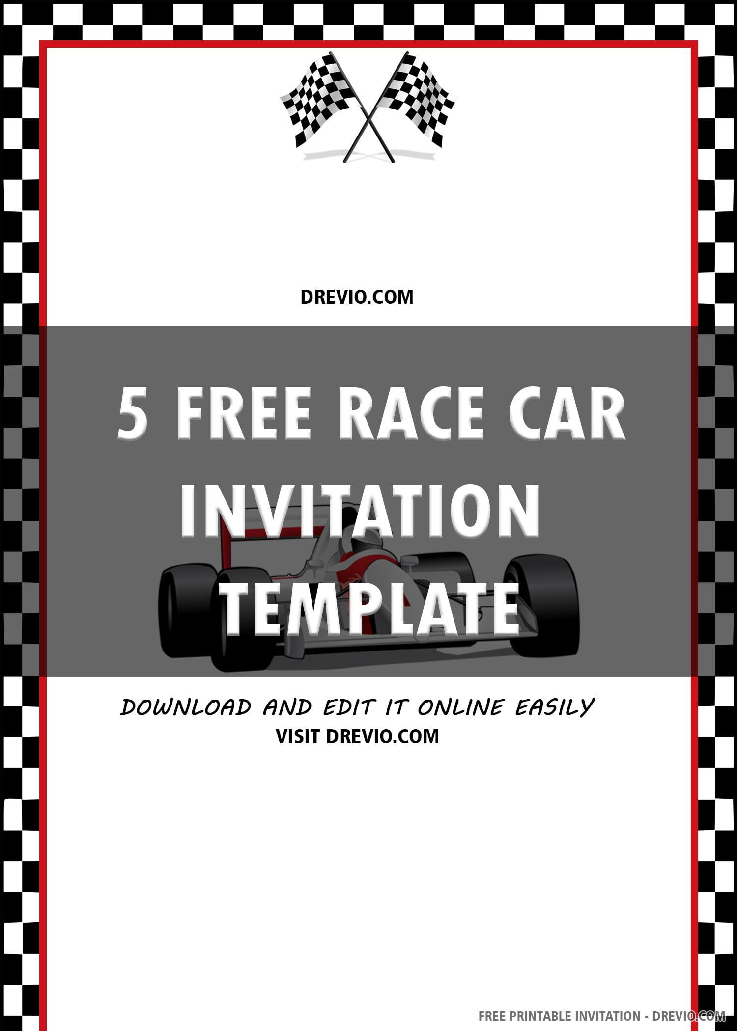Free Printable Racing Car Birthday Invitation Template
