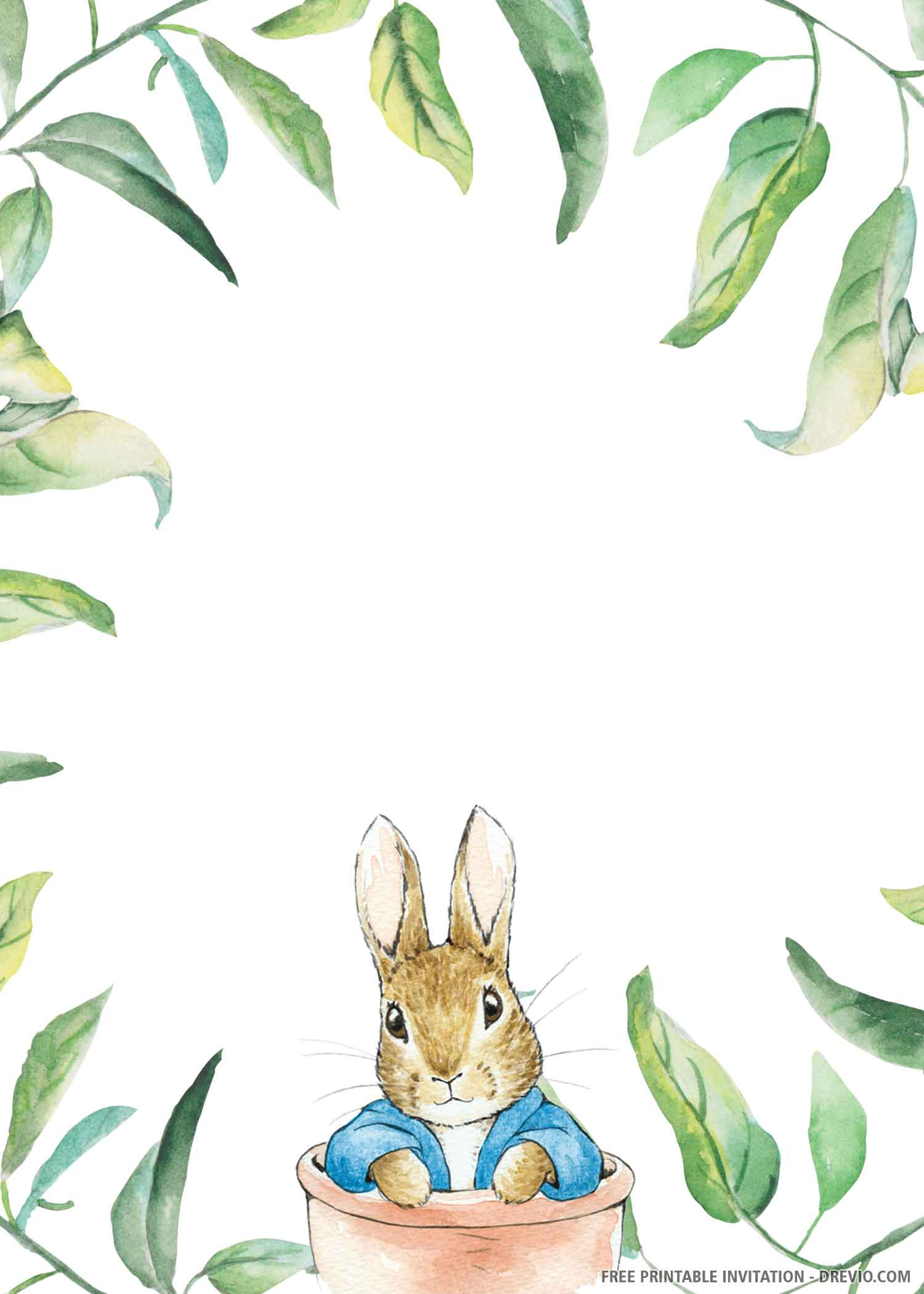 Free Printable Cute Bunny Birthday Invitation Template