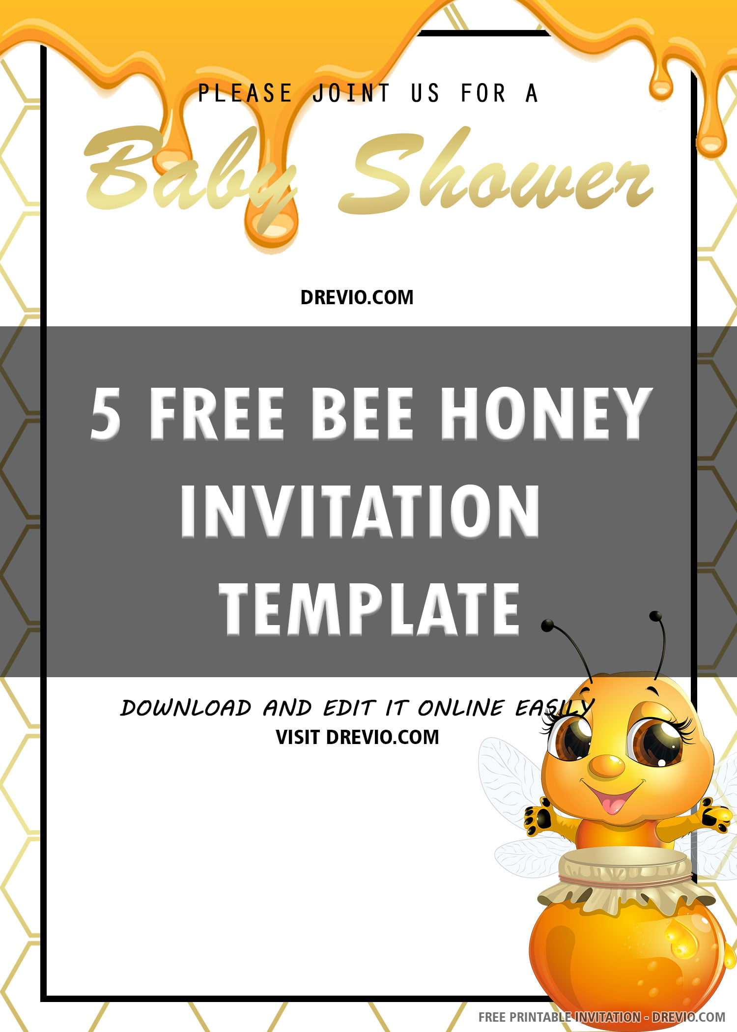 Free Printable Bee Honey Baby Shower Invitation