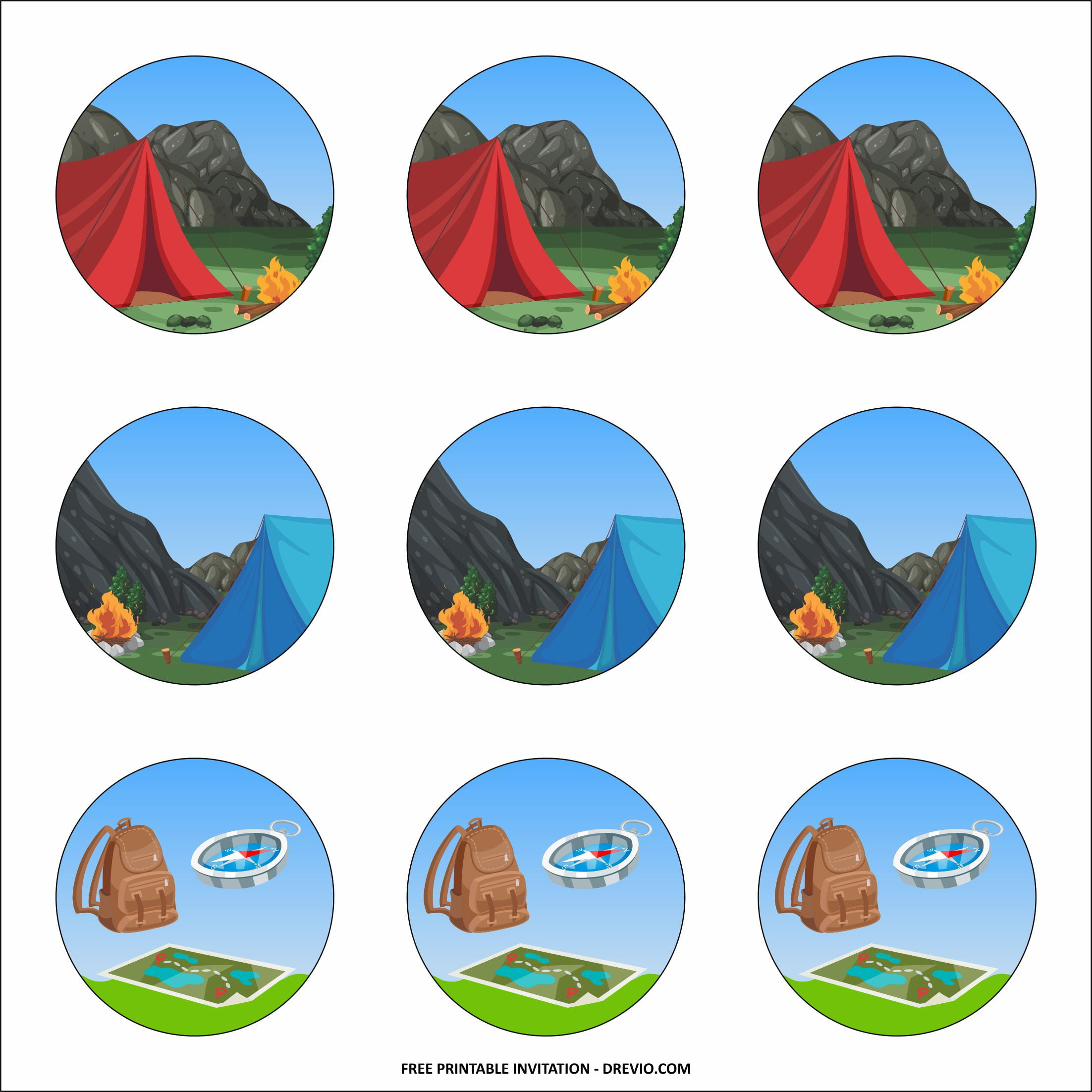 camping cupcake toppers templates