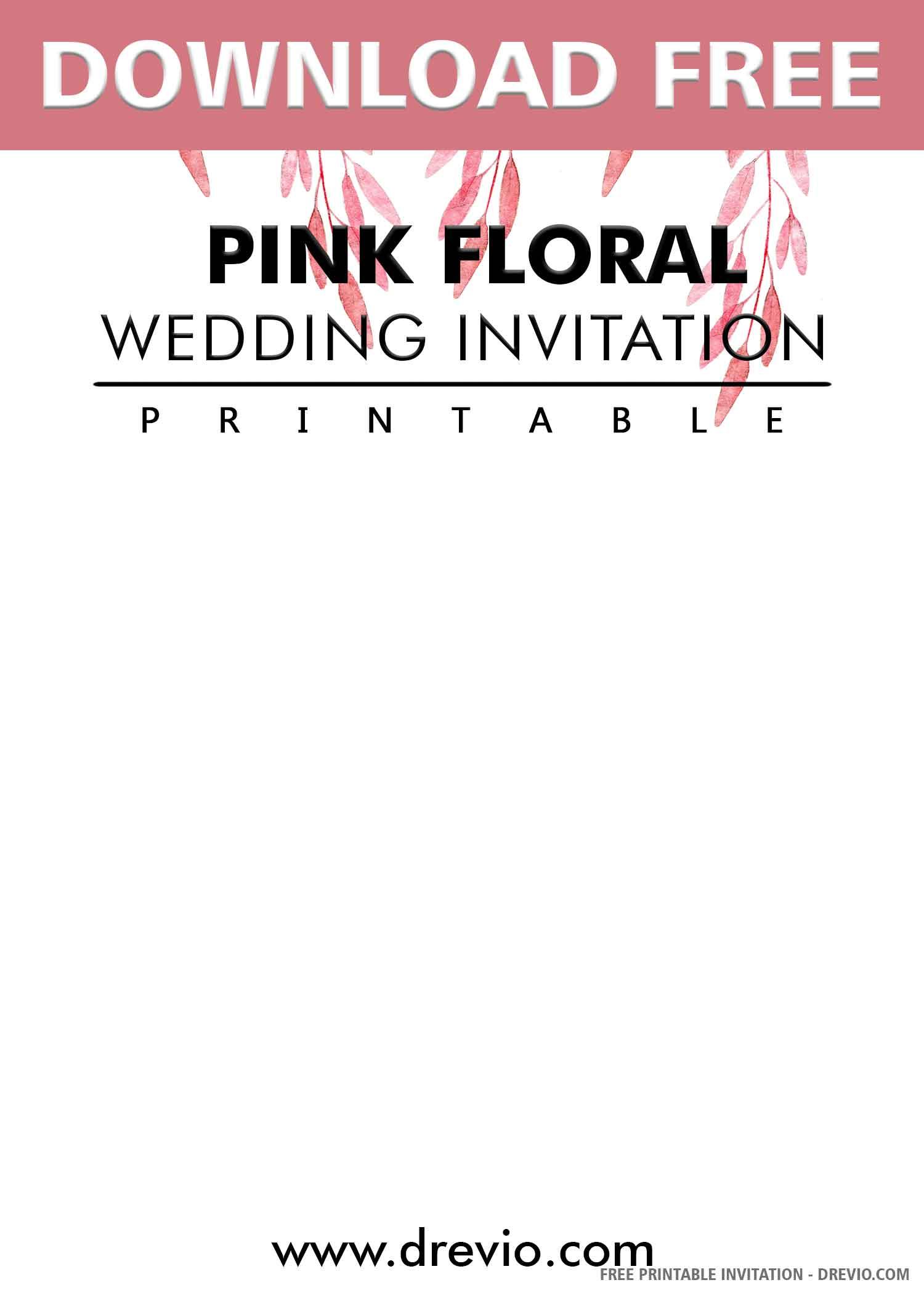 Free Printable Rose Gold Foliage Wedding Invitation