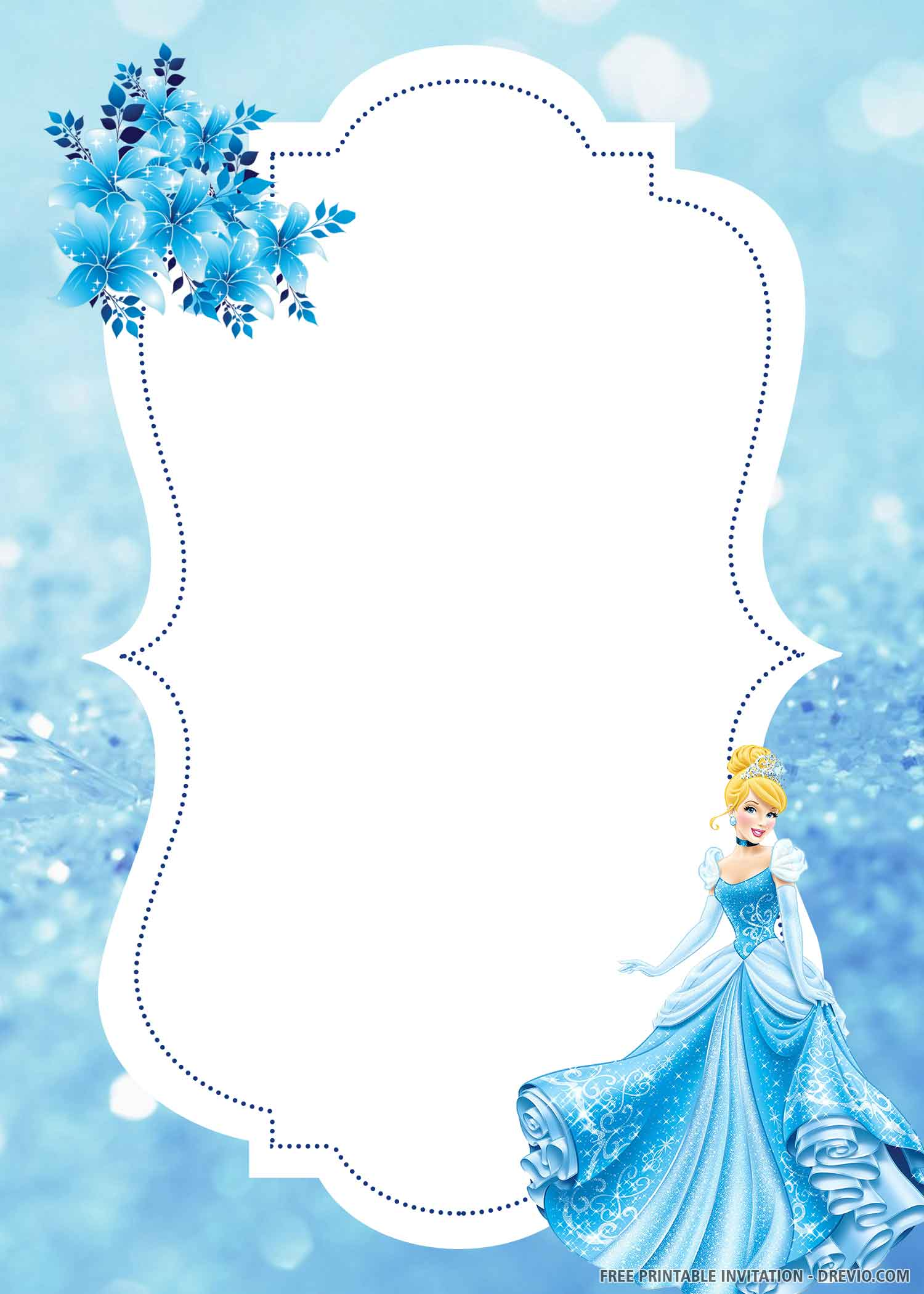 lovely cinderella birthday invitation