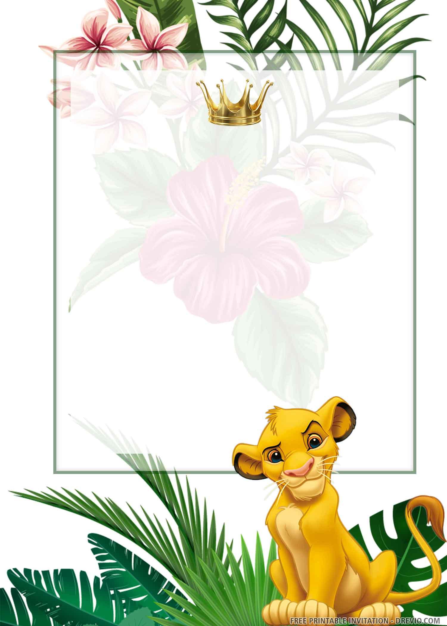 Free Printable Simba Lion King Birthday Invitation