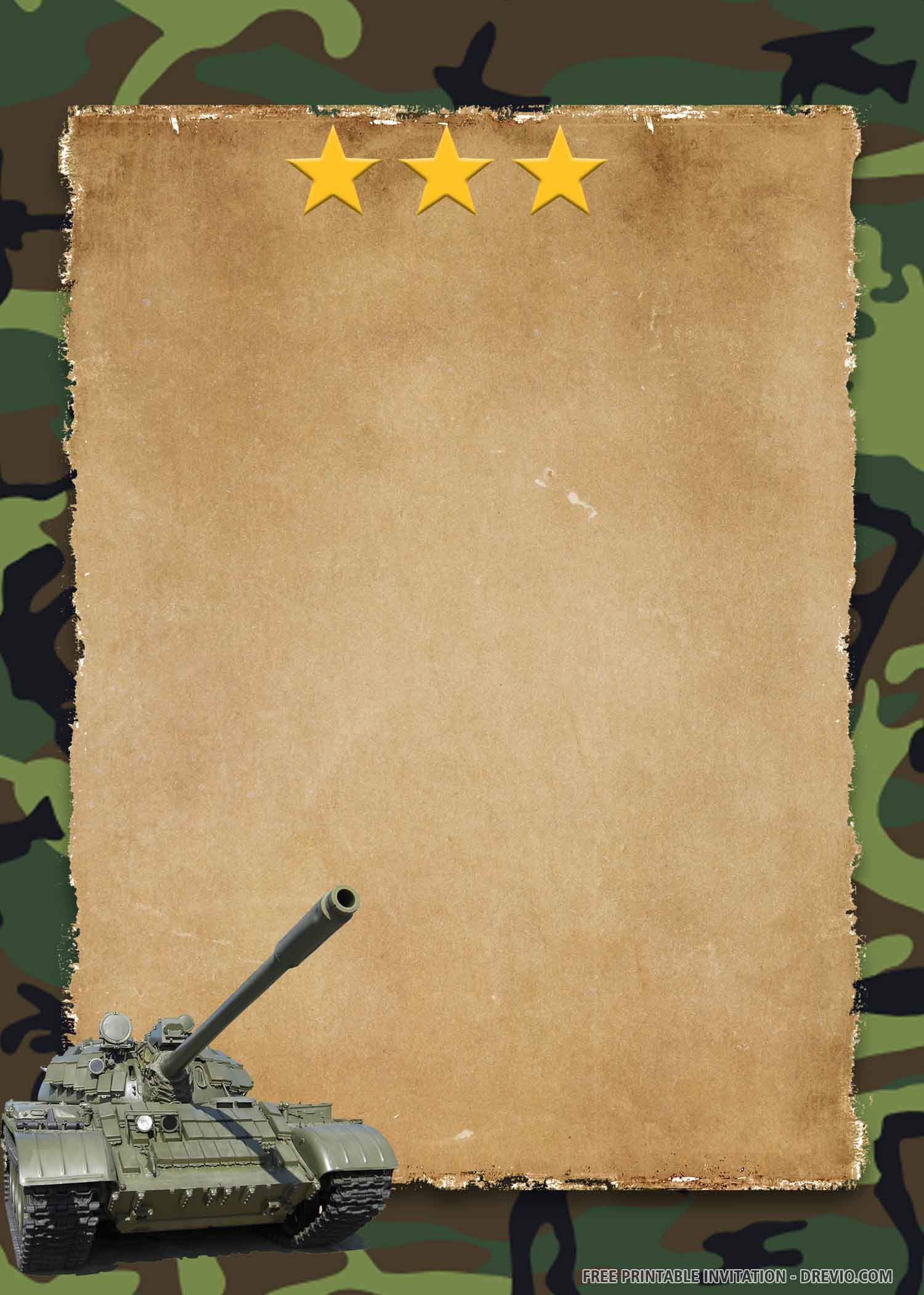 Free Printable Military Camouflage Birthday Invitation