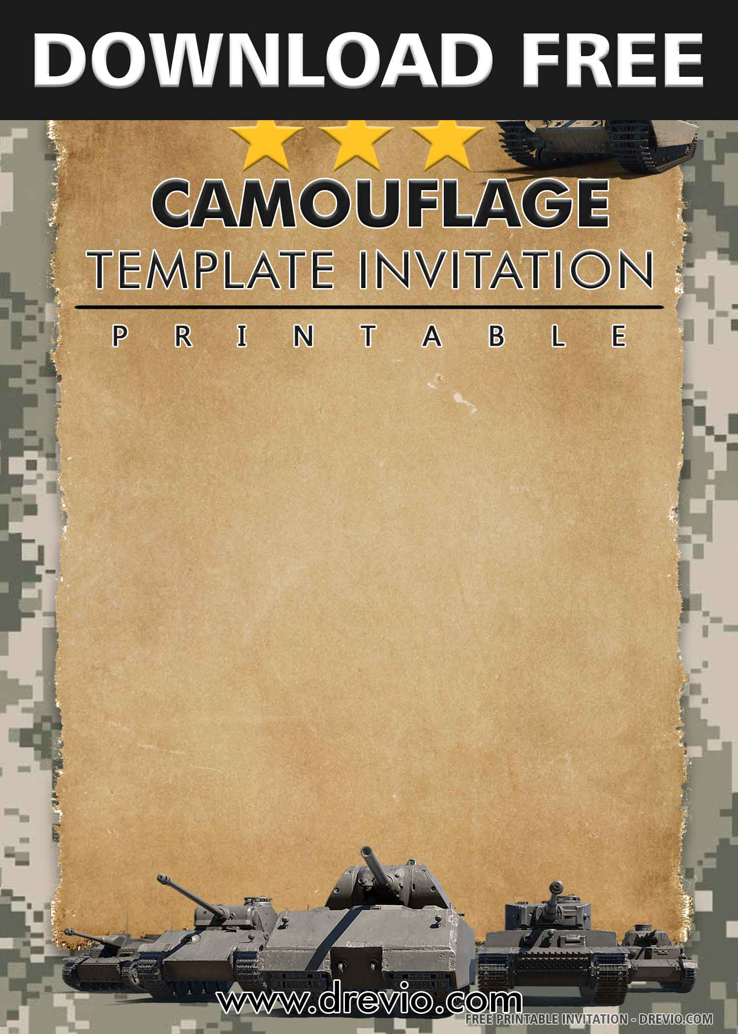 Free Printable Military Camouflage Birthday Invitation