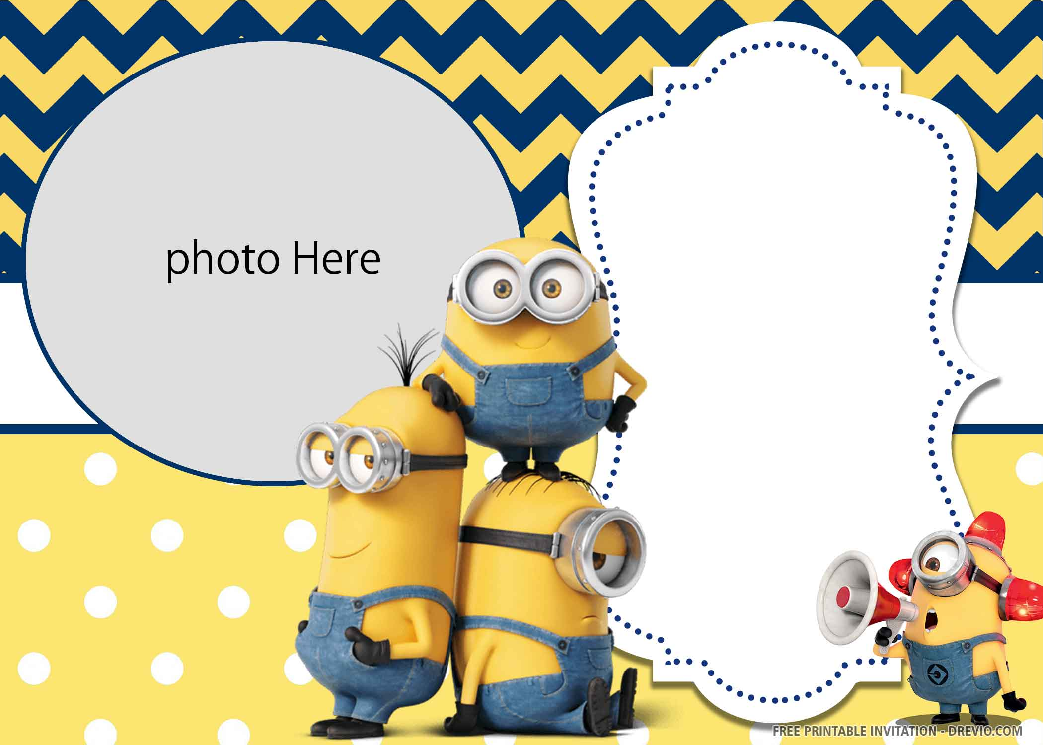 yellow minions birthday invitation