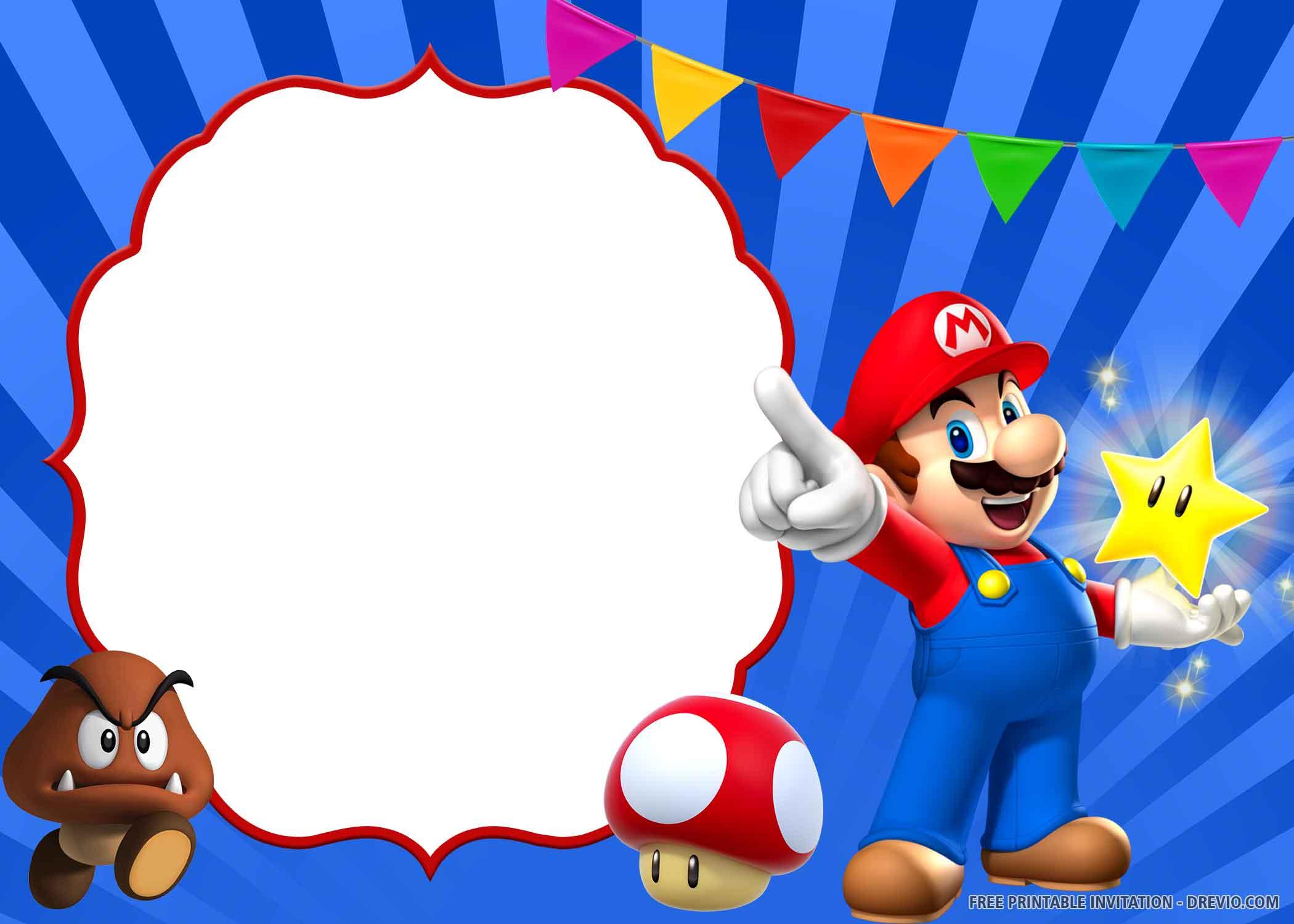 Free Printable Super Mario Birthday Invitation