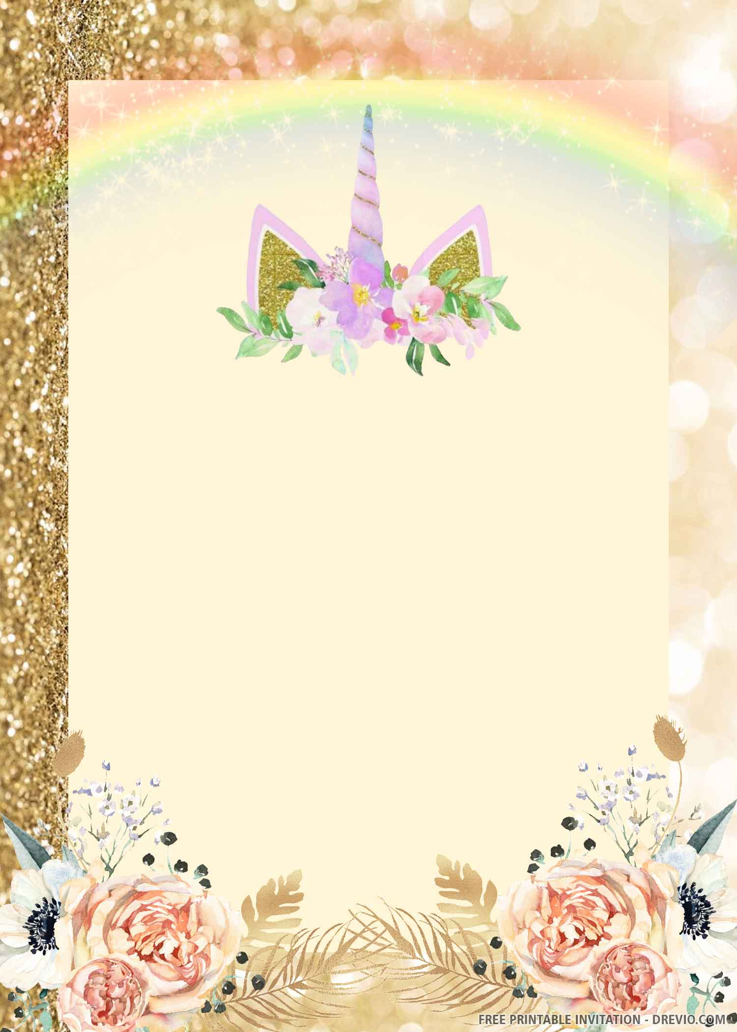 unicorn birthday invitation gold