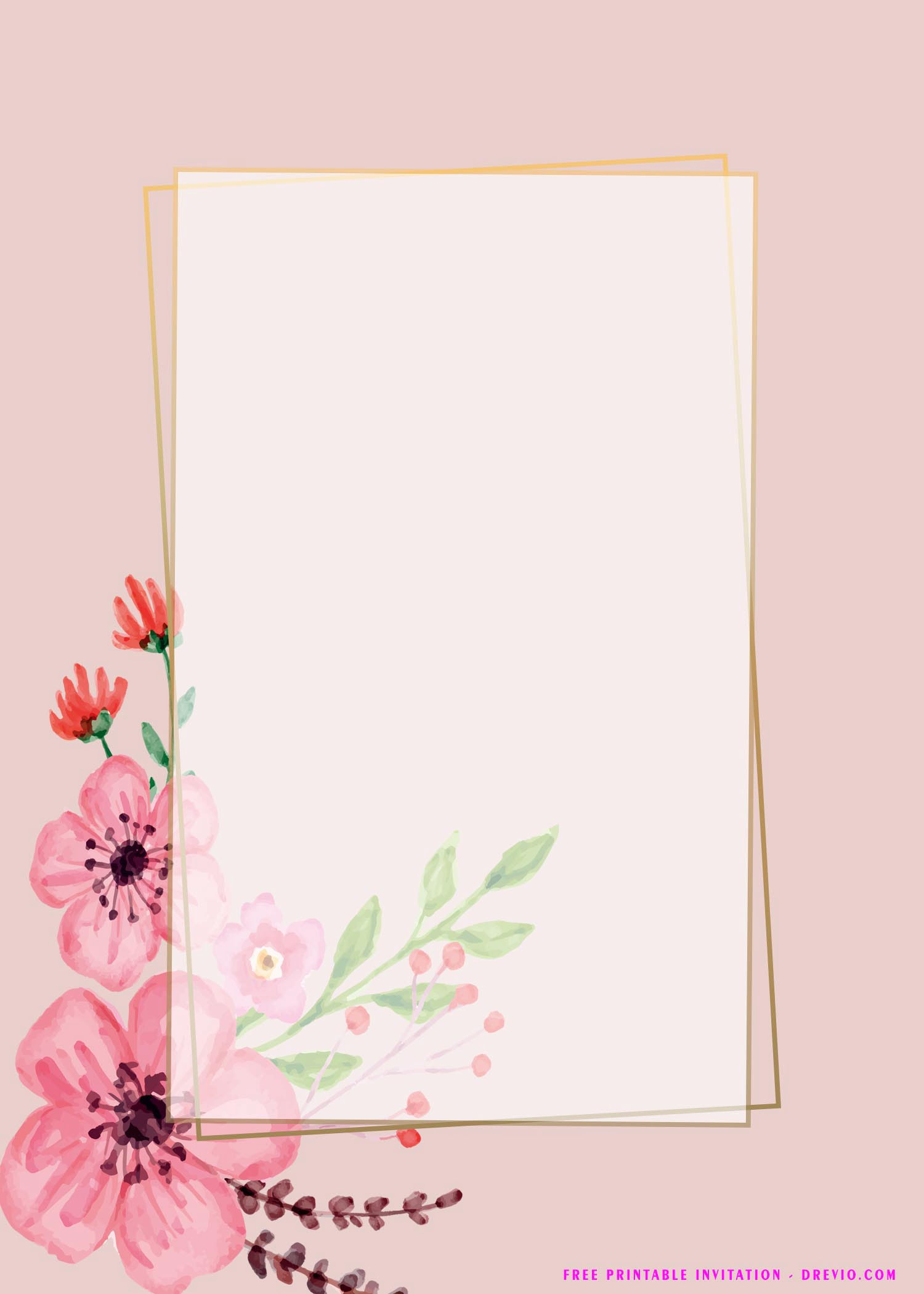 pink floral invitation templates