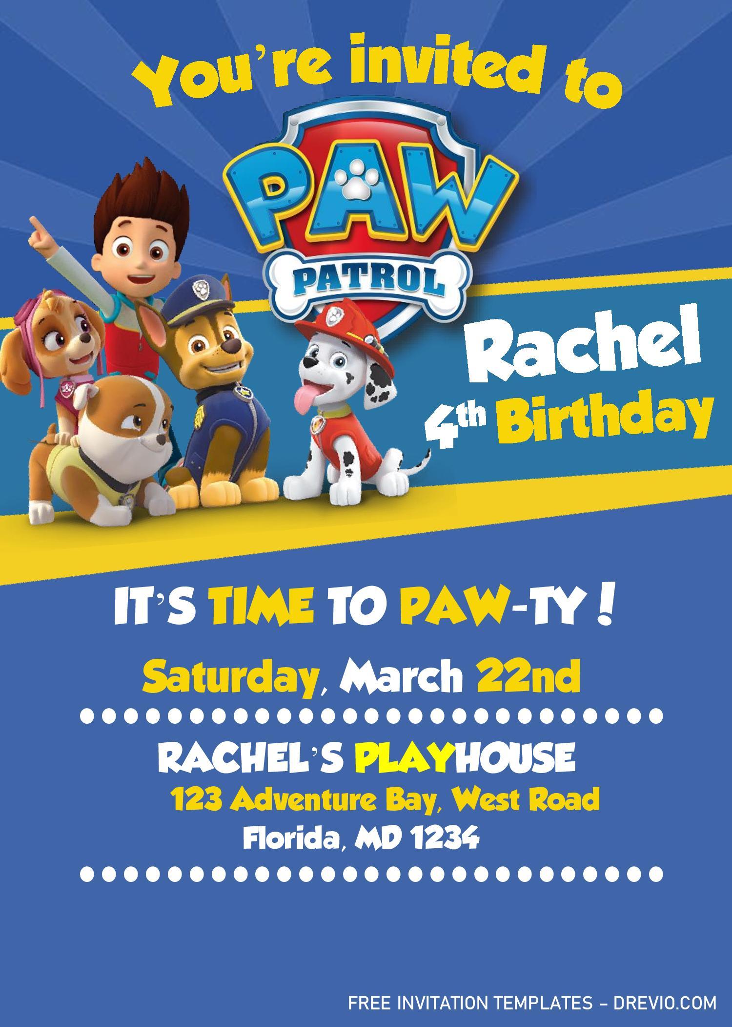 paw patrol invitation templates