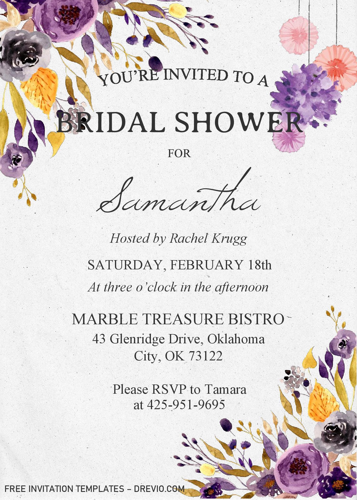 purple floral invitation templates