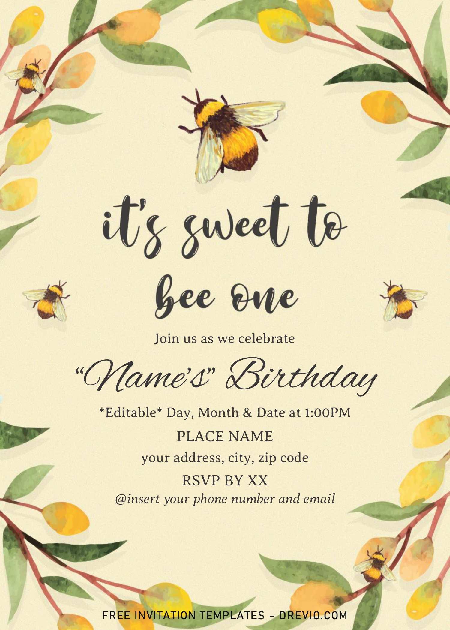 honey and bee birthday invitation