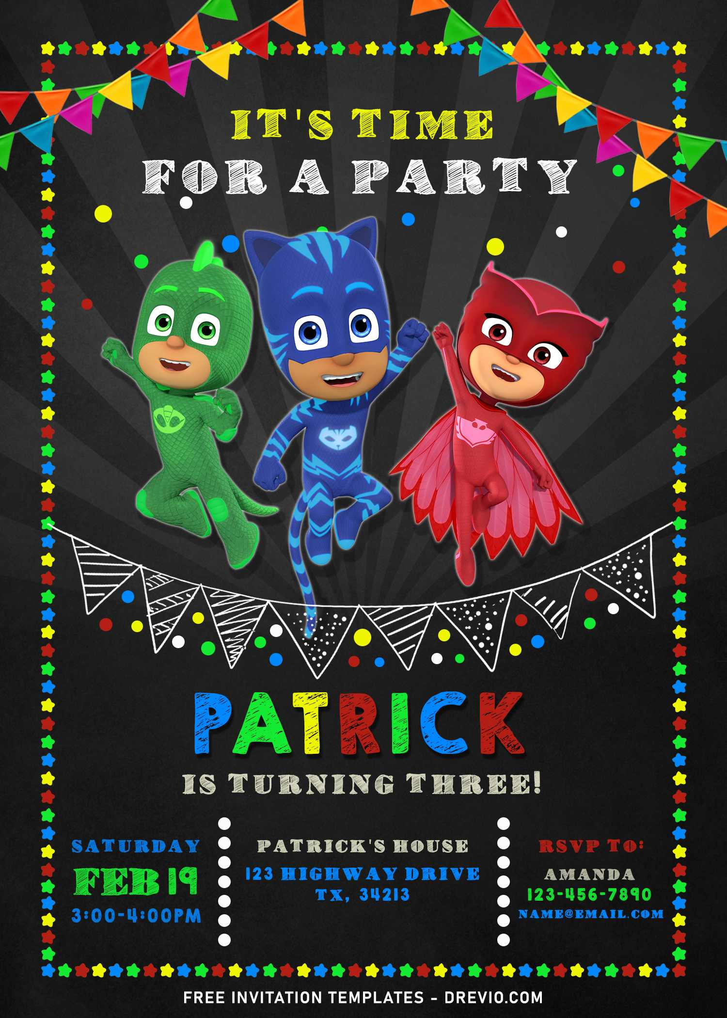 pj masks chalkboard birthday invitation