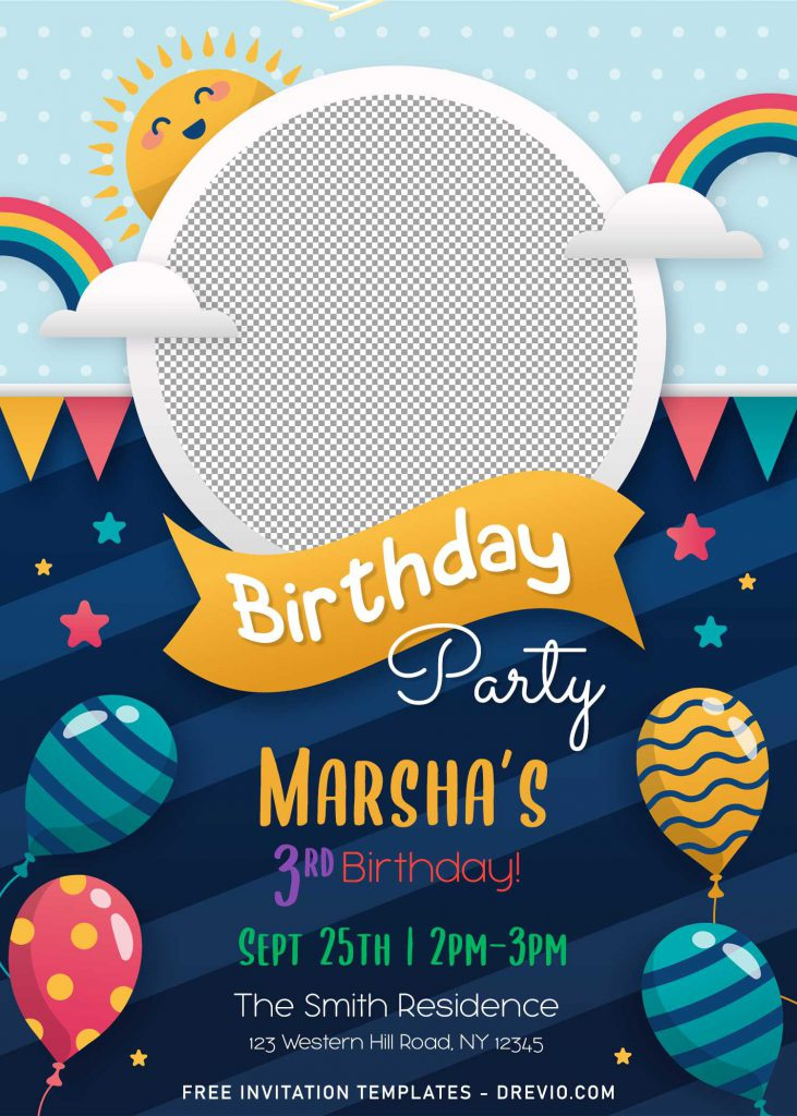 https www drevio com 8 personalized kids birthday party invitation templates for any ages
