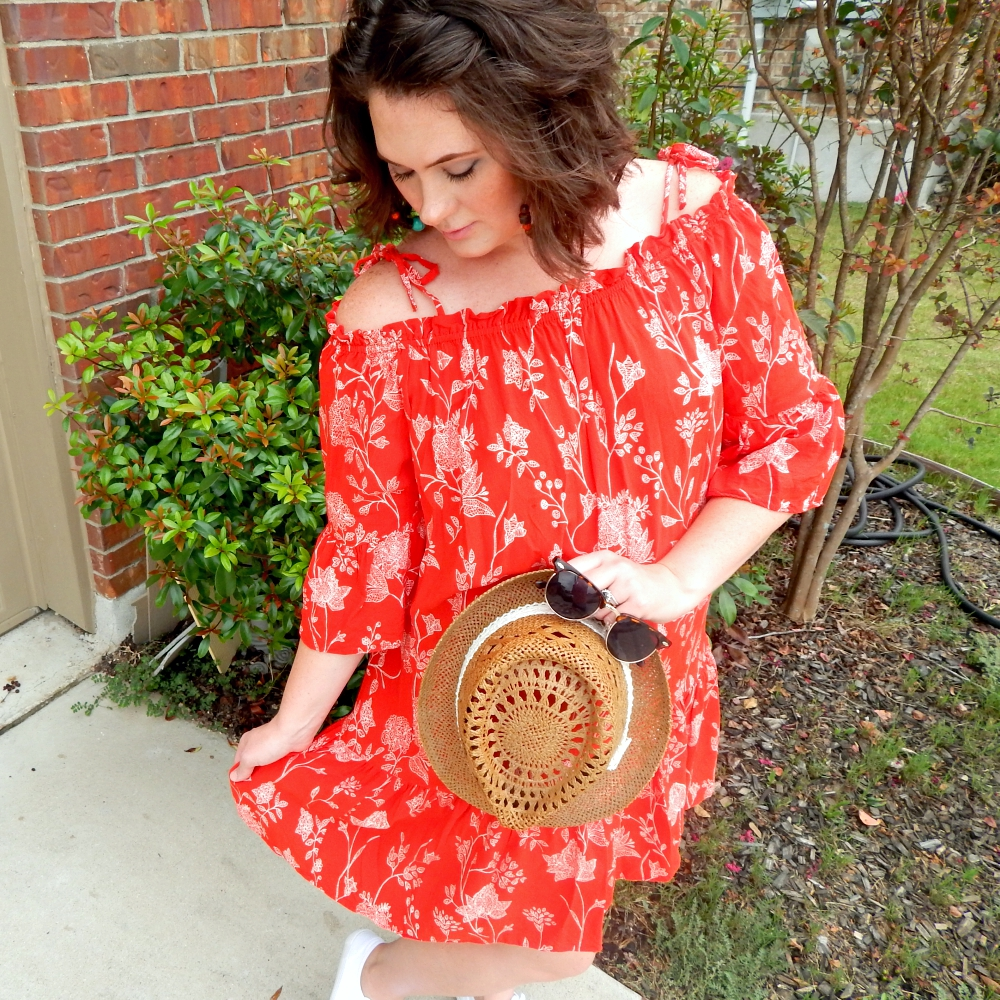 Red Floral Peasant Dress + Link Up