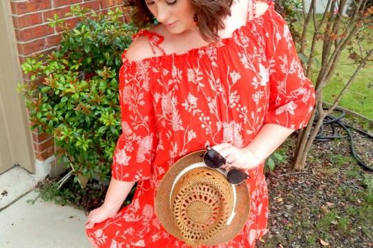H&M Red Floral Off Shoulder Dress Sunglasses Picnic BBQ Link up Red Summer Dress