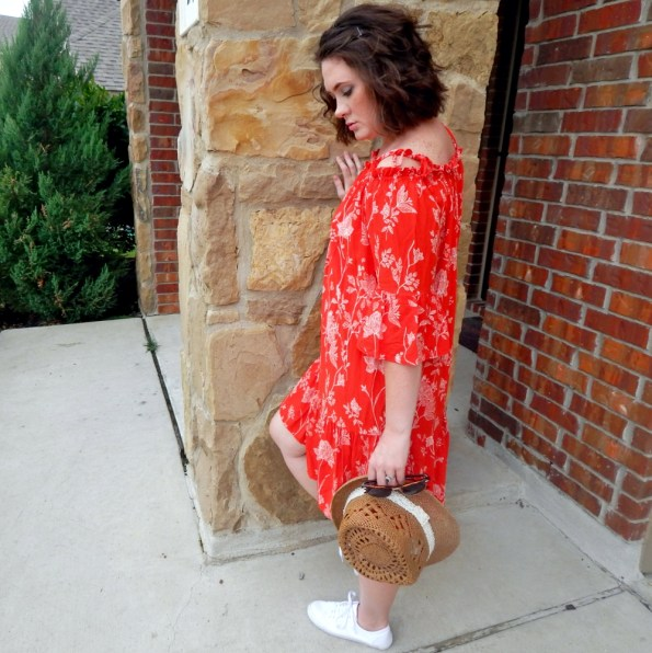 H&M Red Off Shoulder Boho Dress