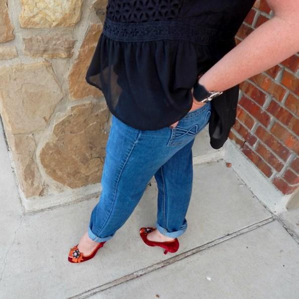 Poetic Licence Red Velvet Pumps New York & Company Boyfriend Jeans