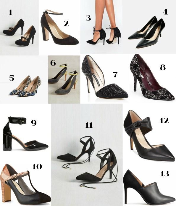 Sassy Black Heels Vintage Modern Retro Strappy