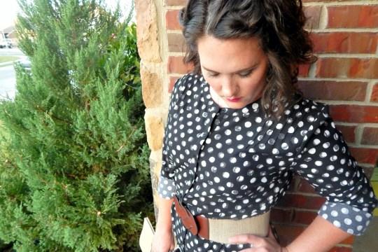 Target Stretch Belt Black Polka Dot Shirt Dress Interview Personality
