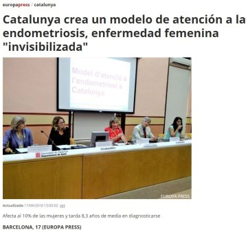 2018-09-17. Europa Press. Catalunya crea un modelo de atención a la endometriosis