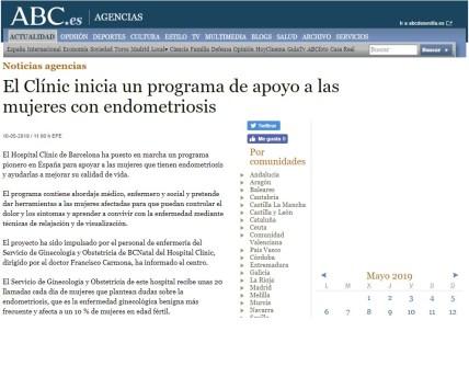 2013-05-10. ABC. Programa pionero endometriosis en el Clinic