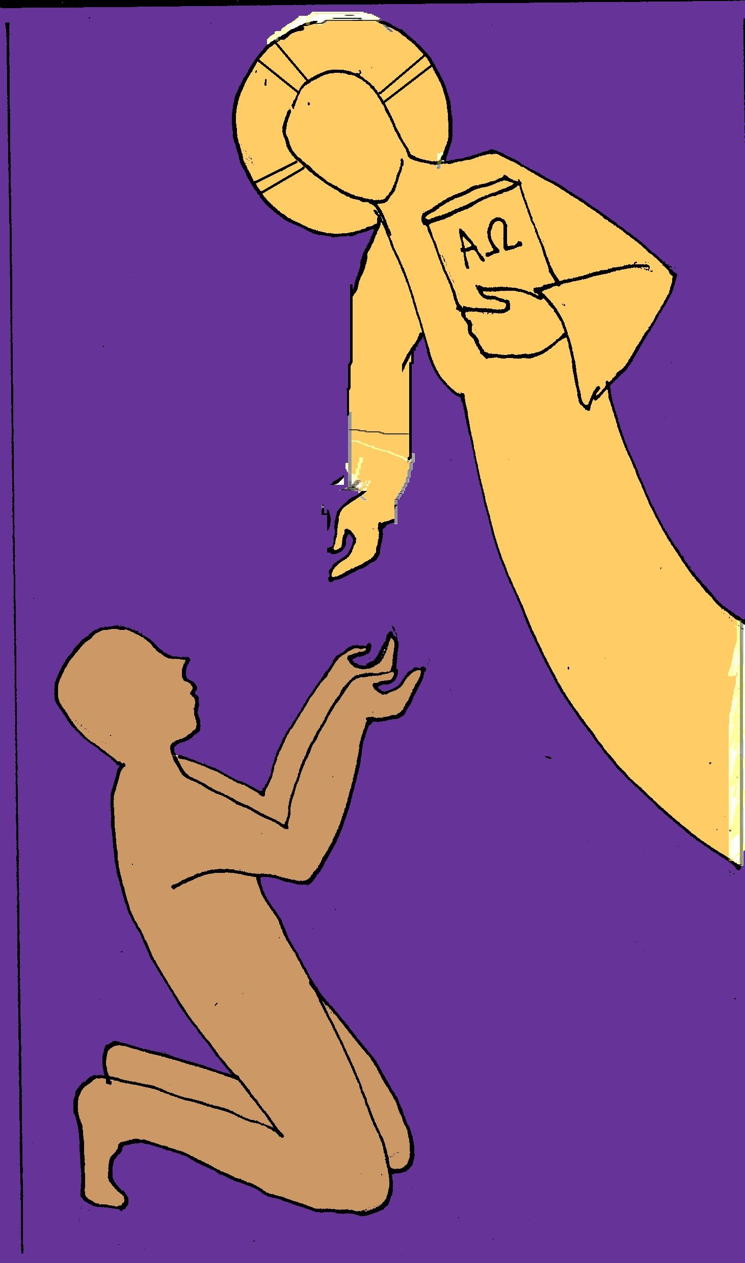 The Lord, in gold, reaches down to a soul, in bronze, on a violet background.