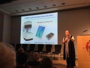 Professor Helen Lee and her 'Nespresso' PoCT machine