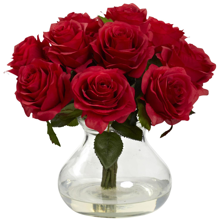 Blooming Bouquet Roses WVase Water Look Red Rose