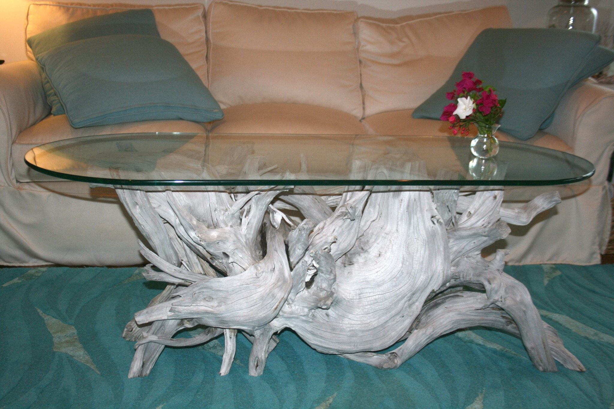 A driftwood coffee table for a home in Hawaii