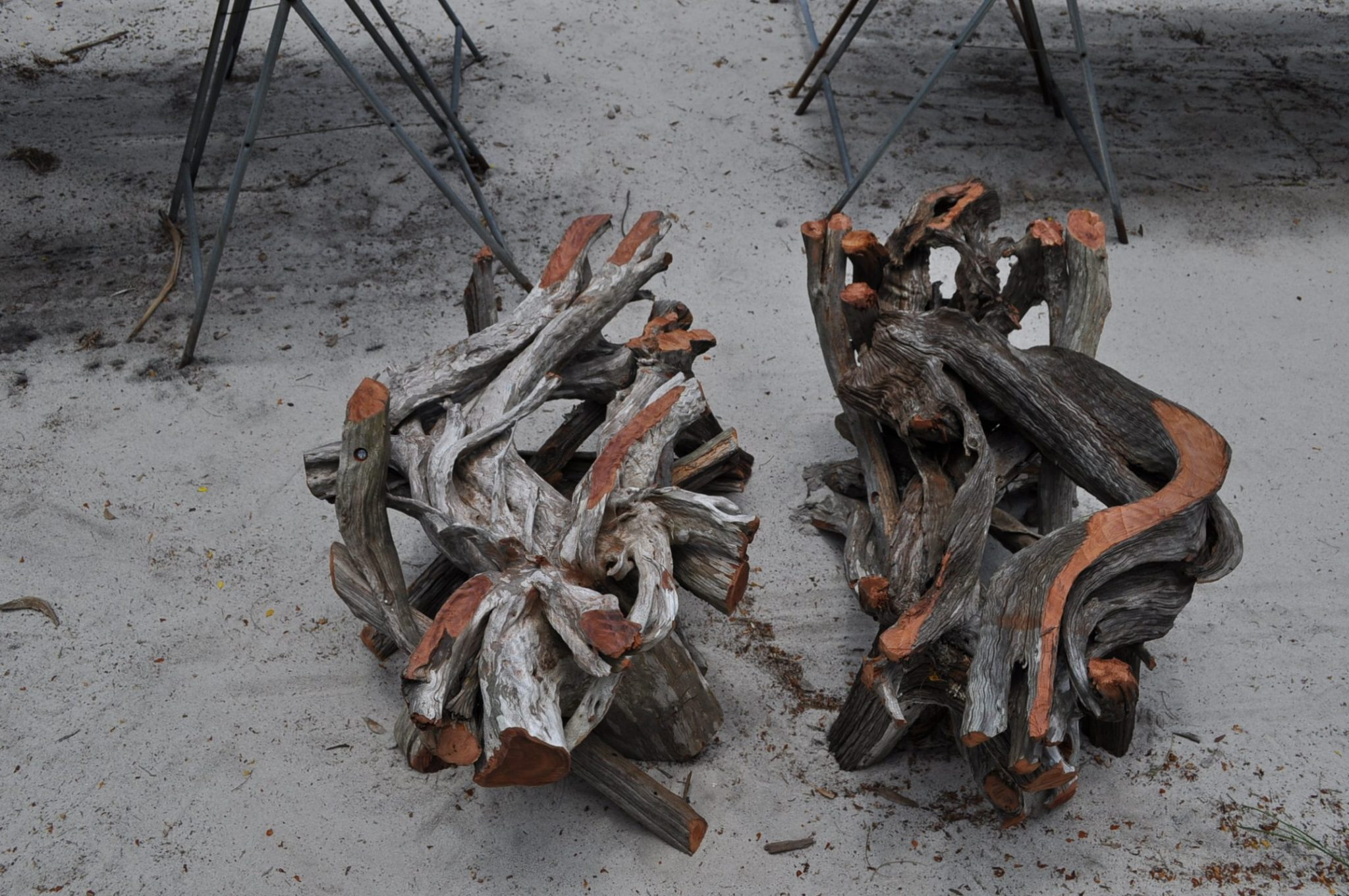 Twin driftwood & glass coffee tables