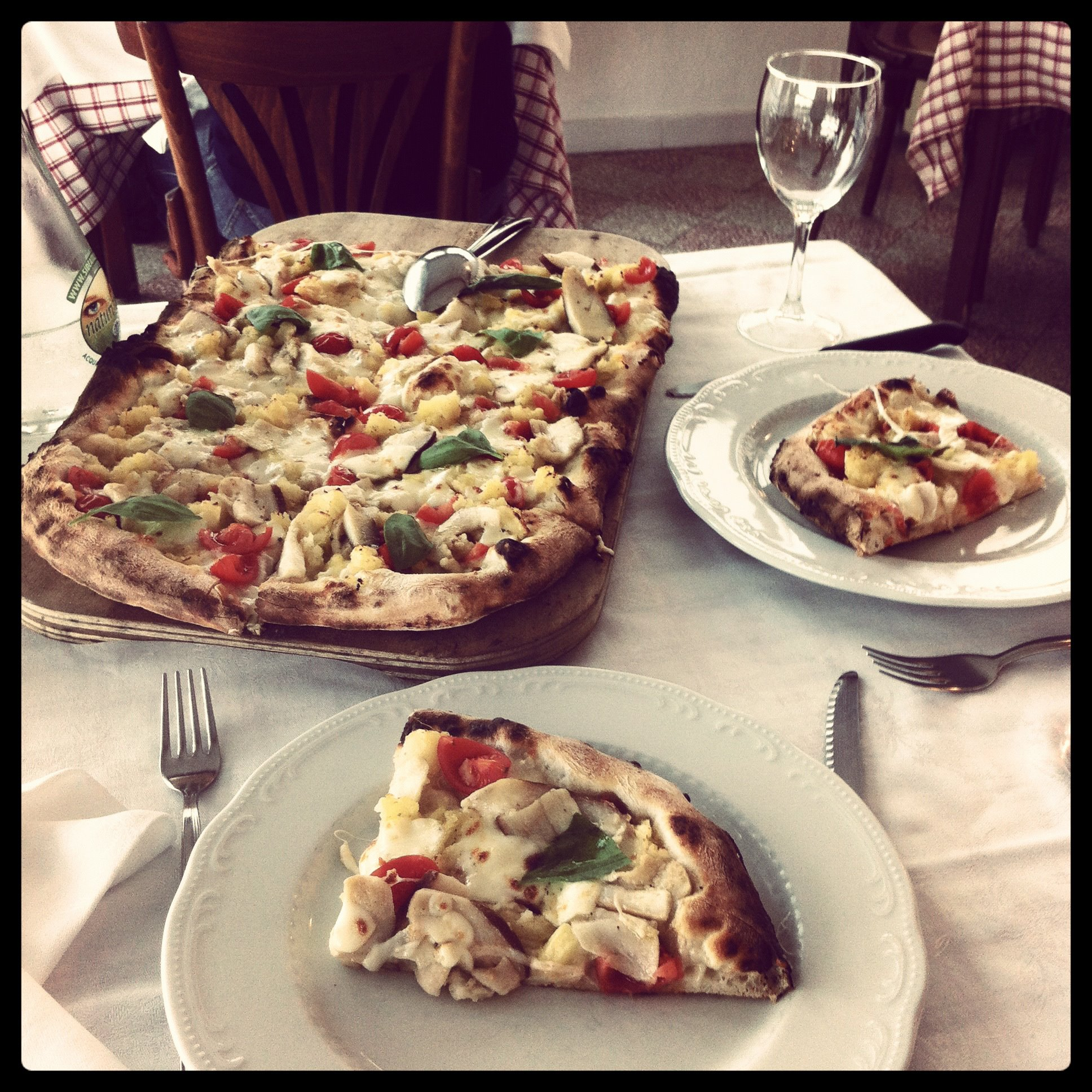 eating pizza in praiano on the Amalfi Coast