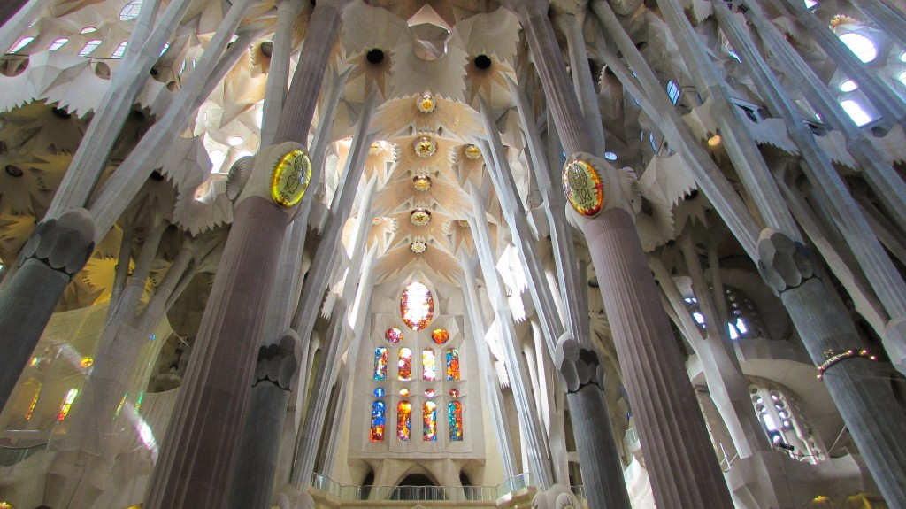 The ribcage-like spirals and ceilings of Gaudi's Sagrada Familia in Barcelona
