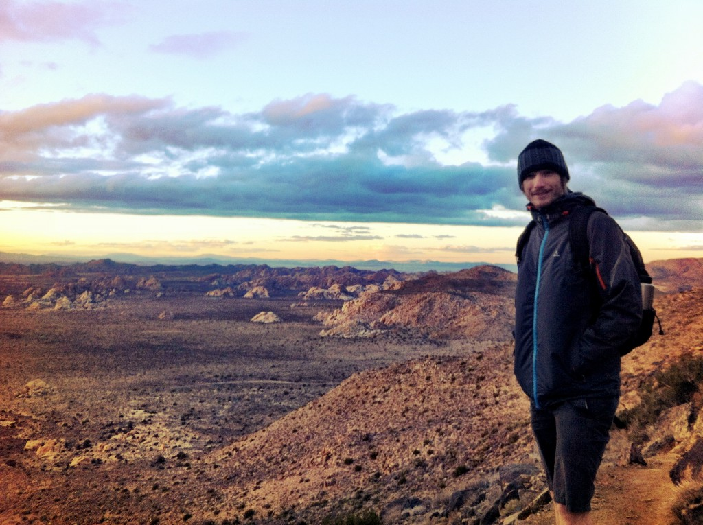 Hiking Joshua Tree, California with my sturdy North Face backpack