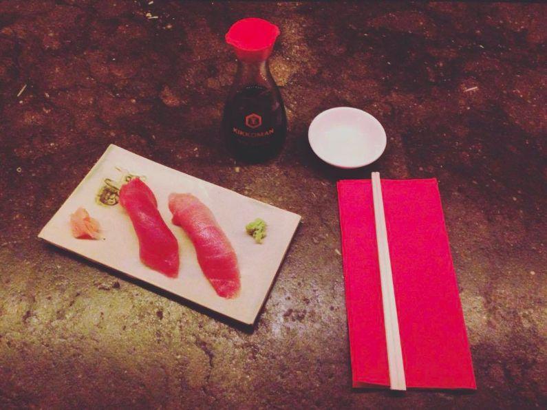 tuna nigiri at The Tatami Room Japanese Sushi Restaurant in Poblesec Barcelona
