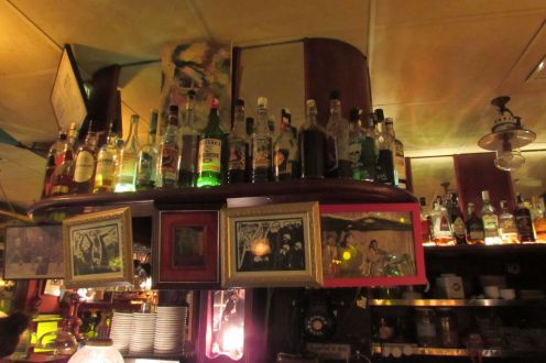 Quirky interior of Barcelona's famous Absinthe bar in Barceloneta, the old fisherman's quarter