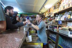 Bartender at Party people at Mariachi Bar Gothic Quarter Barcelona