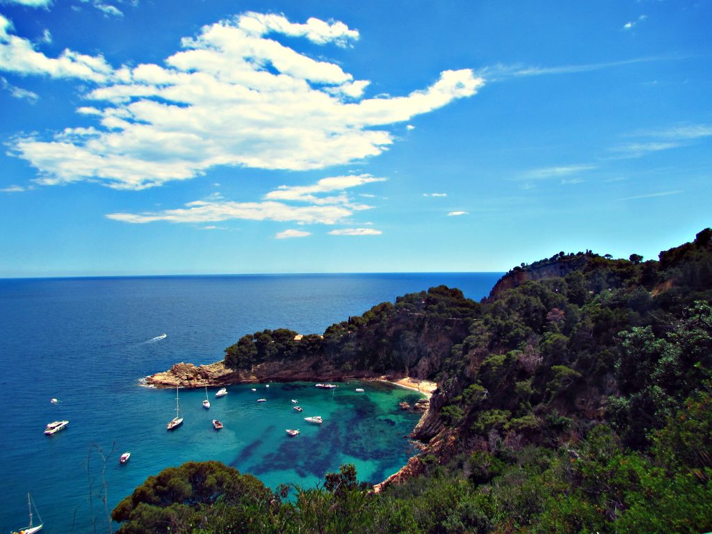 Beautiful beach coves along the Costa Brava just south of Sant Feliu de Guixols