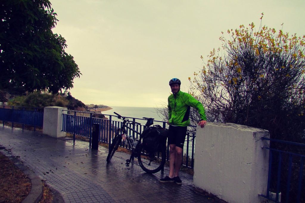 Caught in a rainstorm whilst cycling from Barcelona to Calella along the Costa Brava