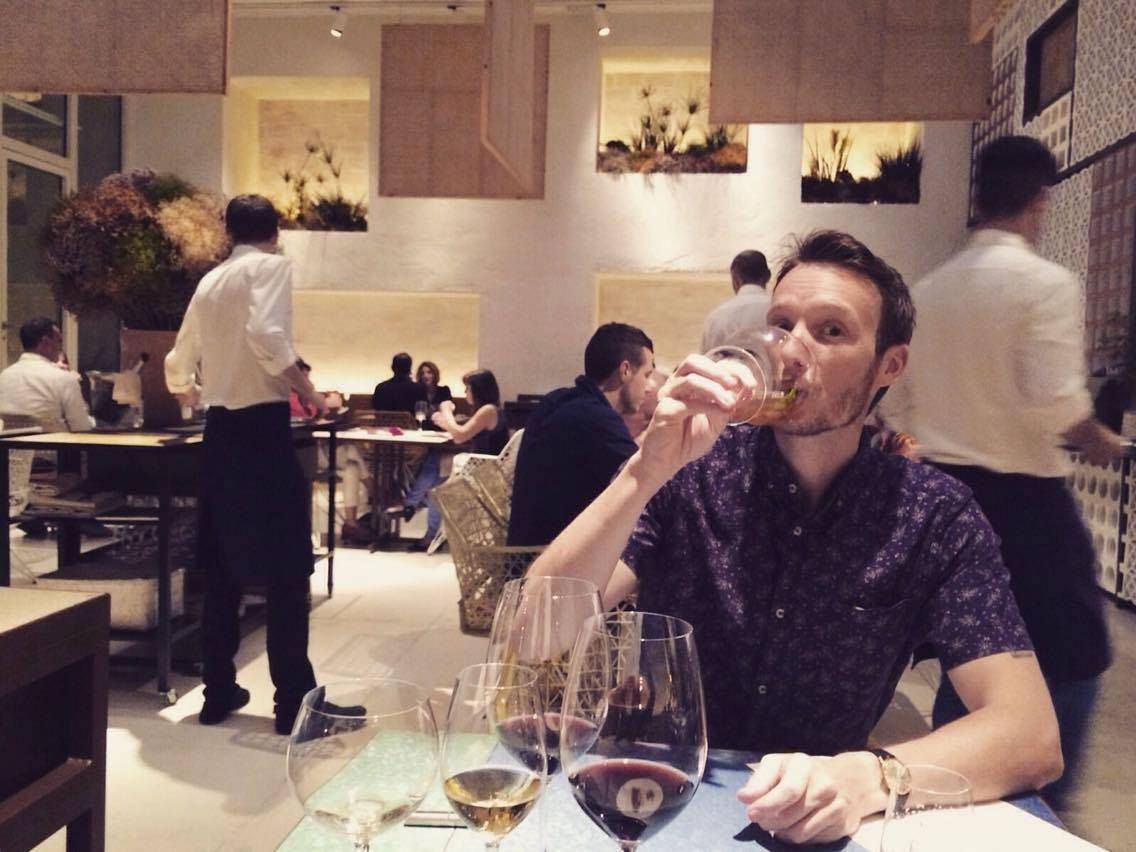 Ben struggling to keep up with the wine pairing menu at Disfrutar Restaurante in Barcelona