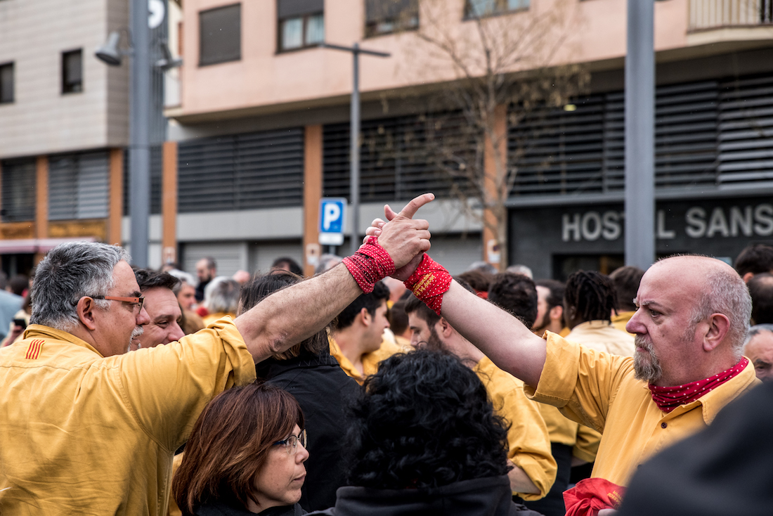 Castellers during Barcelona's La Mercè Festival (Every September) - by Ben Holbrook